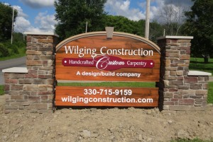 Wilging Construction Handcrafted Custom Cabinetry Wood Sign by LAAD Sign and Lighting